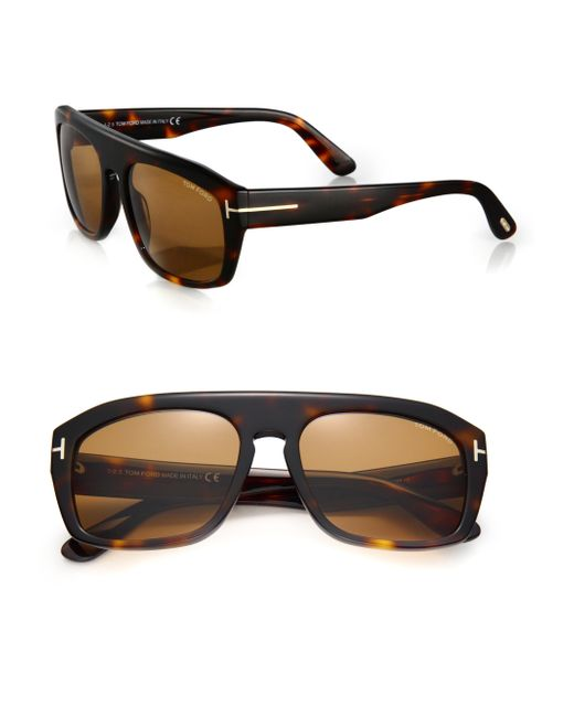 4e42f26190 Tom ford 58mm Square Acetate Sunglasses in Brown for Men