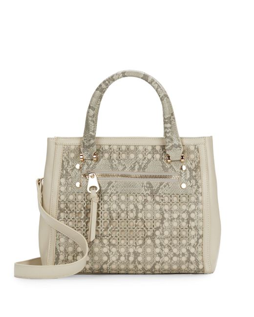 Sondra Roberts | Gray Saffiano & Snake-embossed Laser Cut Faux Leather Satchel | Lyst