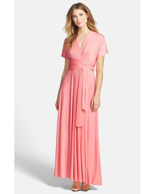 Dessy Collection | Pink Self-Tie Jersey Gown | Lyst