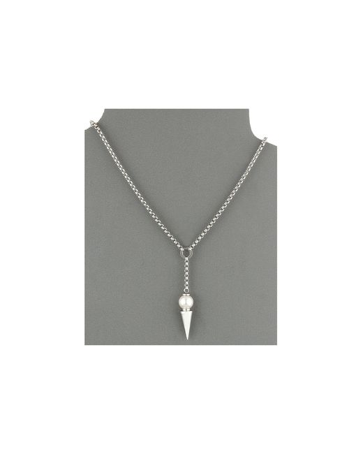 """Majorica   Metallic Spiked Pearl """"y"""" Necklace   Lyst"""
