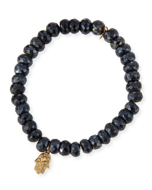 Sydney Evan | 8mm Faceted Black Spinel Bead Bracelet W/diamond Hamsa Charm | Lyst