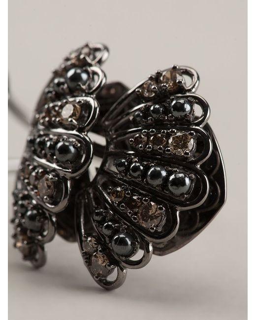 Nikos Koulis   Metallic Gold And Brown Diamond Pavé Ring   Lyst