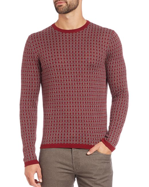 Saks Fifth Avenue | Red Jacquard Square Print Sweater for Men | Lyst
