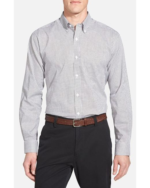 Cutter & Buck | Gray 'epic Easy Care' Classic Fit Wrinkle Free Tattersall Plaid Sport Shirt for Men | Lyst