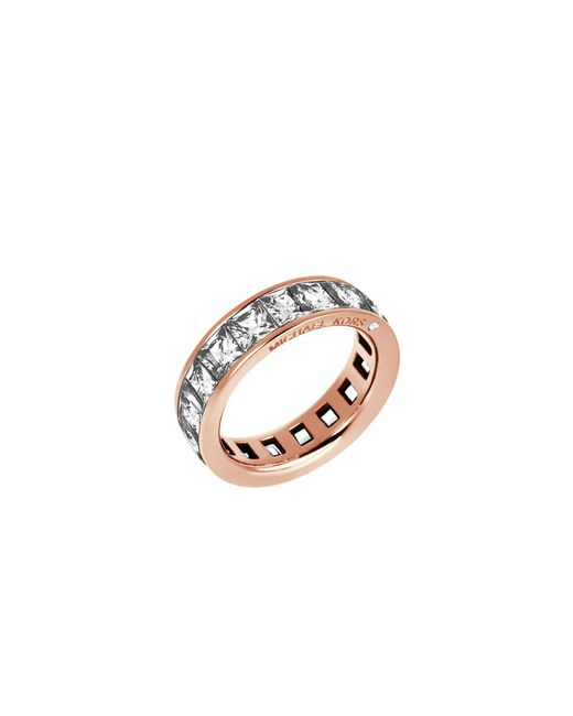 Michael Kors | Pink Baguette Crystal Rose Gold-tone Ring | Lyst
