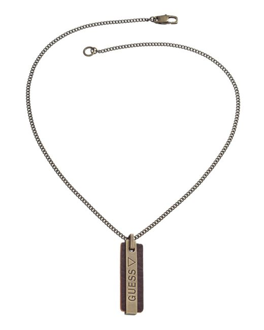 Guess | Metallic Orange Logo Tag Necklace for Men | Lyst