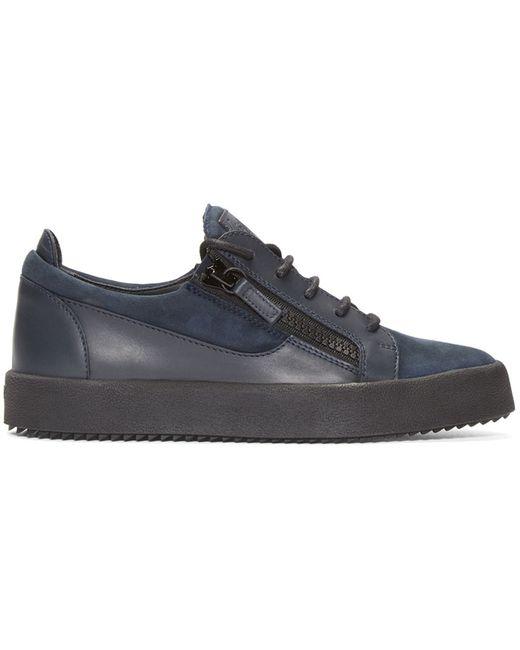 Giuseppe Zanotti | Blue Navy Leather Low-top London Sneakers for Men | Lyst