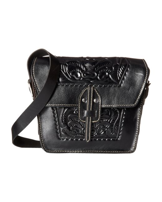 Patricia Nash Tooled Floral Embossed Granada Cross-body Bag In Black | Lyst