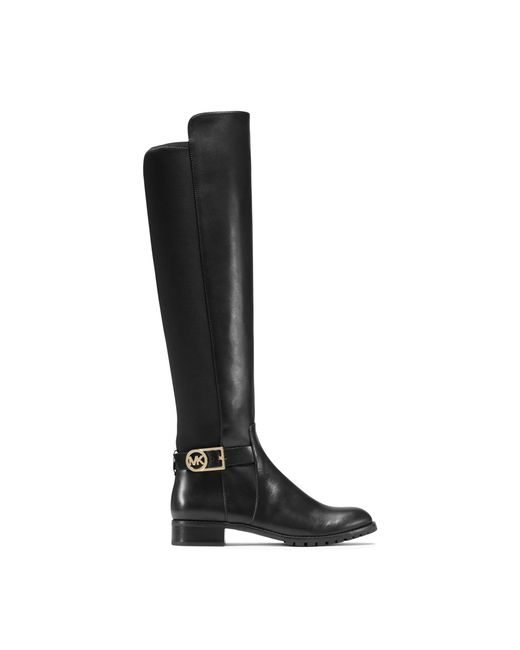 michael kors bryce stretch back leather boot in black lyst