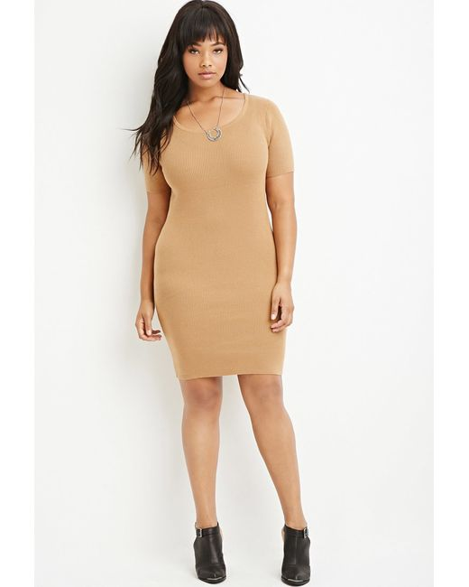 Forever 21 | Natural Plus Size Ribbed Sweater Dress | Lyst