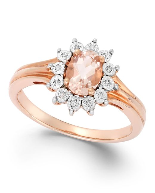 Macy's | Pink Diamond Accent And Morganite (5/8 Ct. T.w.) Ring In 10k Rose Gold | Lyst