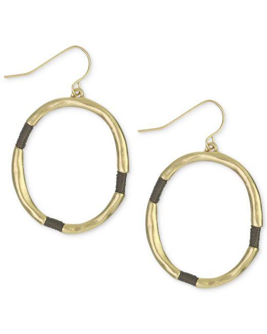 The Sak | Metallic Gold-tone Brown Thread-wrapped Hoop Earrings | Lyst