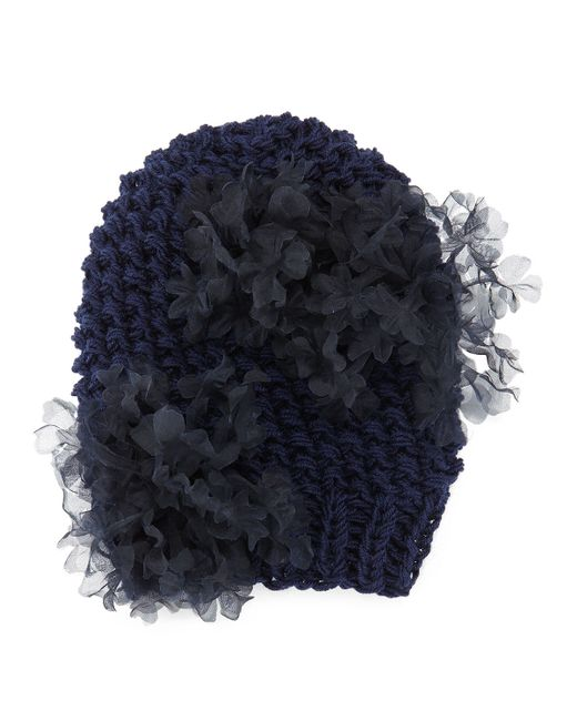 Gigi Burris Millinery | Blue Bloom Knit Beanie Hat With Organza Flowers | Lyst