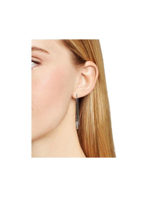 Aqua | Metallic Alexis Pavé Bar Threader Earrings | Lyst