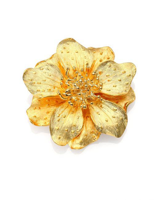 Kenneth Jay Lane | Metallic Anemone Flower Pin | Lyst