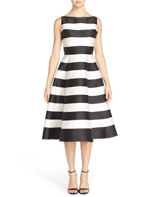 Adrianna Papell | Black Stripe Mikado Midi Dress | Lyst