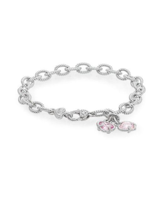 Judith Ripka | Metallic Linen Pink Corundum & Sterling Silver Heart Charm Bracelet | Lyst