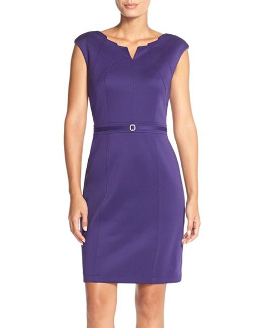 Ellen Tracy | Purple Embellished Seamed Scuba Sheath Dress | Lyst