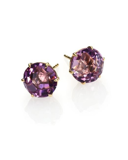 Ippolita | Purple Rock Candy Dark Amethyst & 18k Yellow Gold Stud Earrings | Lyst