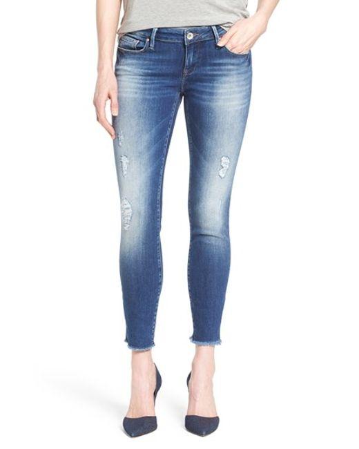 mavi jeans 39 serena 39 distressed stretch ankle jeans in blue. Black Bedroom Furniture Sets. Home Design Ideas