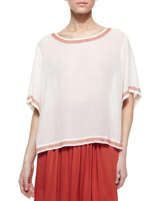 White Short Sleeve Peasant Blouse 107