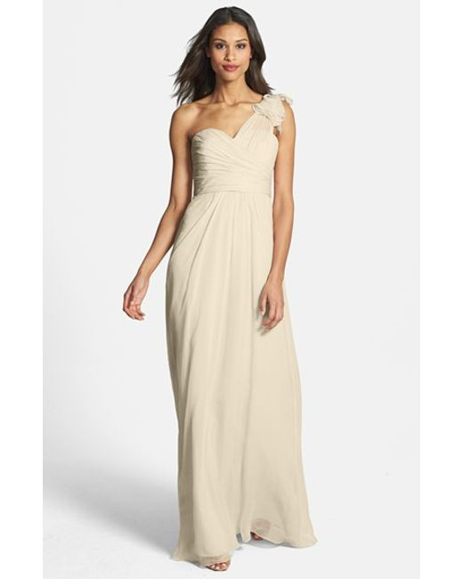 Amsale | Natural Illusion Shoulder Crinkled Silk Chiffon Dress | Lyst