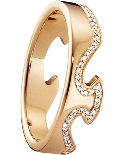 Georg Jensen | Metallic Fusion End 18ct Rose-gold And Diamond Ring | Lyst