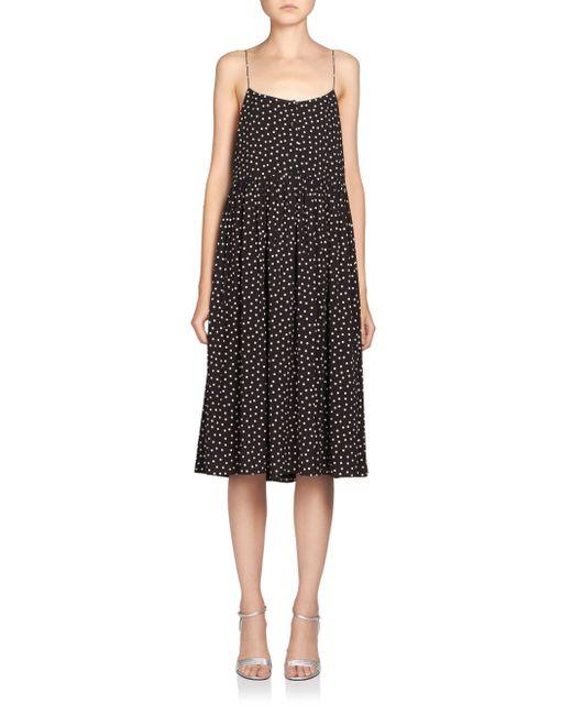 Saint Laurent | Black Glitter Velvet Dress | Lyst