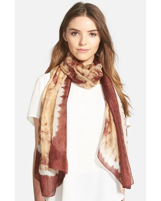 La Fiorentina | Brown Tie Dye Silk Scarf | Lyst