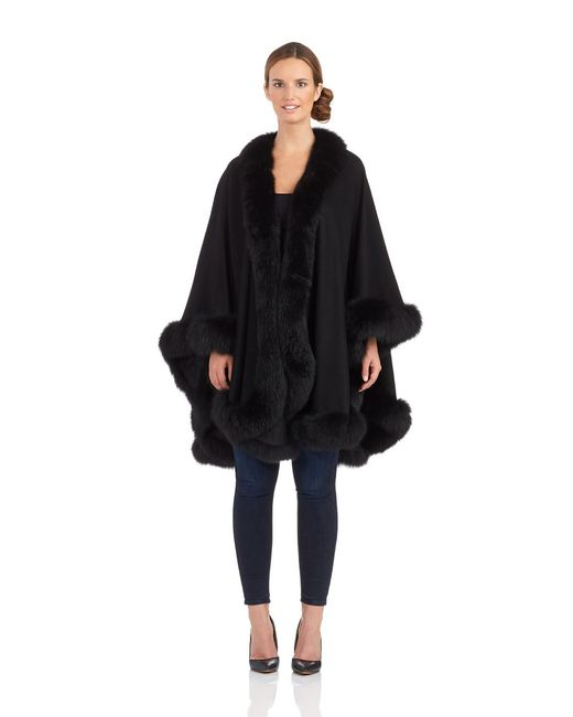 Sofia Cashmere | Black Cashmere And Fox Fur Cape | Lyst