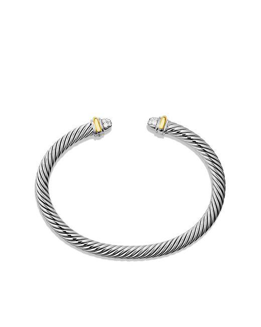 David Yurman | Metallic Cable Classics Bracelet With Diamonds And 18k Gold, 5mm | Lyst
