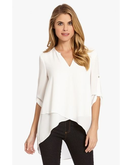 Karen Kane | White Asymmetrical Wrap Hem Top | Lyst