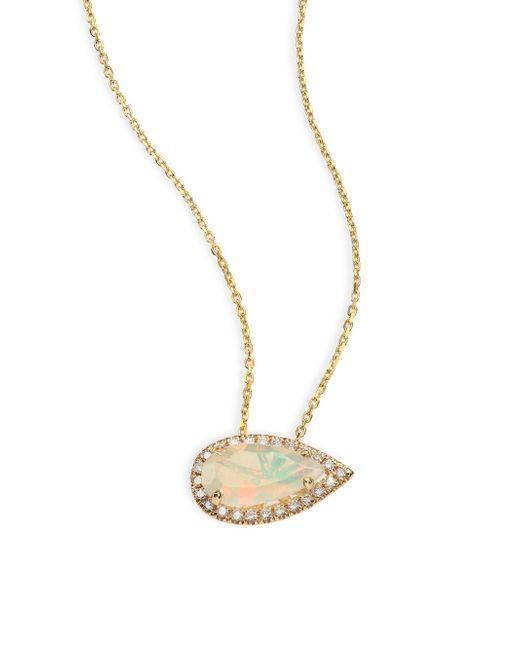 KALAN by Suzanne Kalan | Metallic Soleil Opal, Diamond & 14k Yellow Gold East-west Pear Pendant Necklace | Lyst