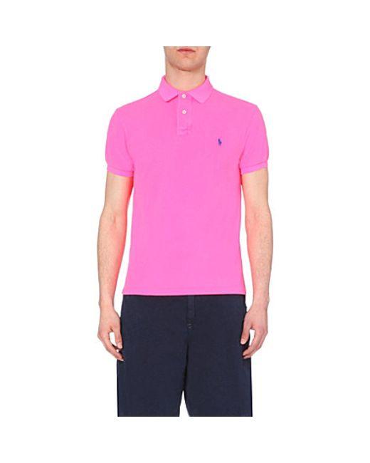 Polo Ralph Lauren | Pink Custom-fit Cotton-piqué Polo Shirt for Men | Lyst