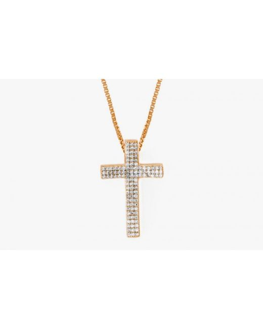 Tateossian | Metallic Precious Cross Micro Pavé Necklace In 18K Rose Gold With 105 0.32Ct White Diamonds for Men | Lyst