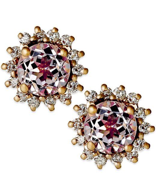 Macy's | Metallic Morganite (9/10 Ct. T.w.) And Diamond (1/4 Ct. T.w.) Earrings In 14k Rose Gold | Lyst