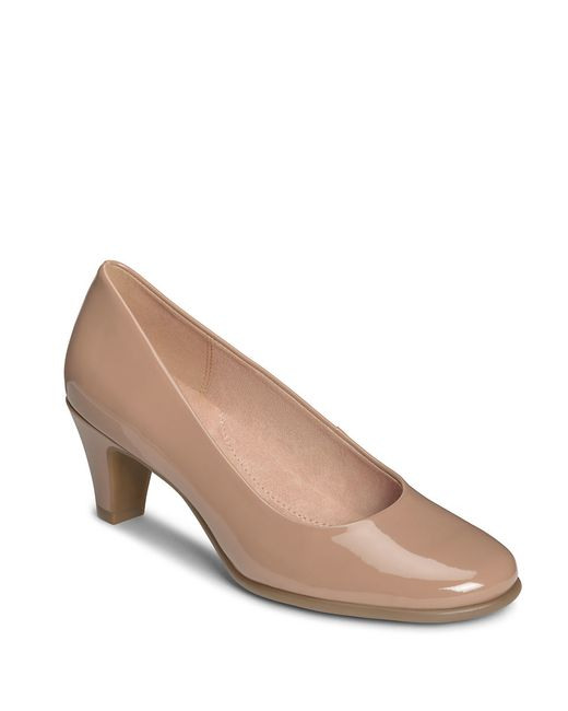 Aerosoles | Brown Redhot Glazed Leather Pumps | Lyst