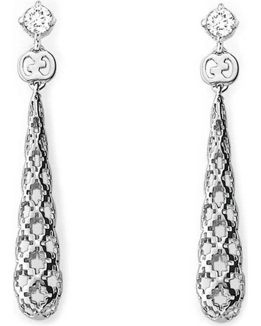 Gucci | Metallic Diamantissima 18ct White-gold And Diamond Drop Earrings | Lyst