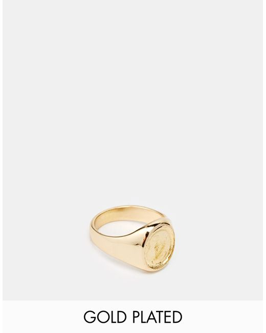 ASOS | Metallic Gold Plated Pinky Ring - Gold | Lyst