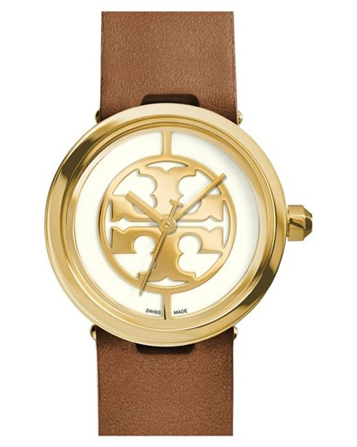 Tory Burch | Brown 'reva' Leather Strap Watch | Lyst