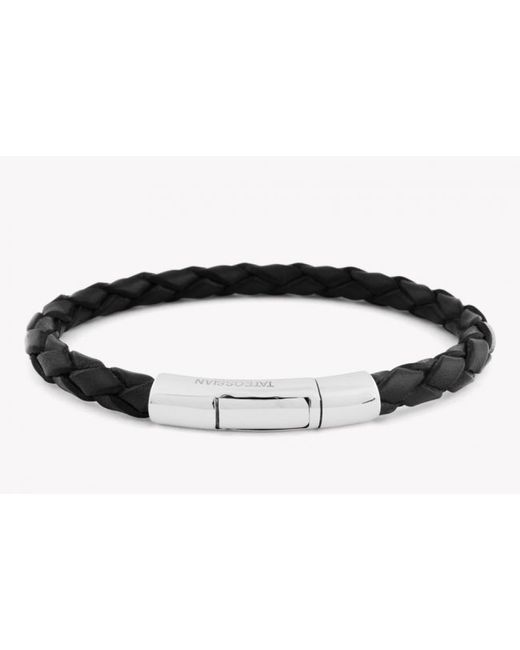 Tateossian | Single Wrap Scoubidou Black Leather Bracelet With 18k White Gold Clasp for Men | Lyst