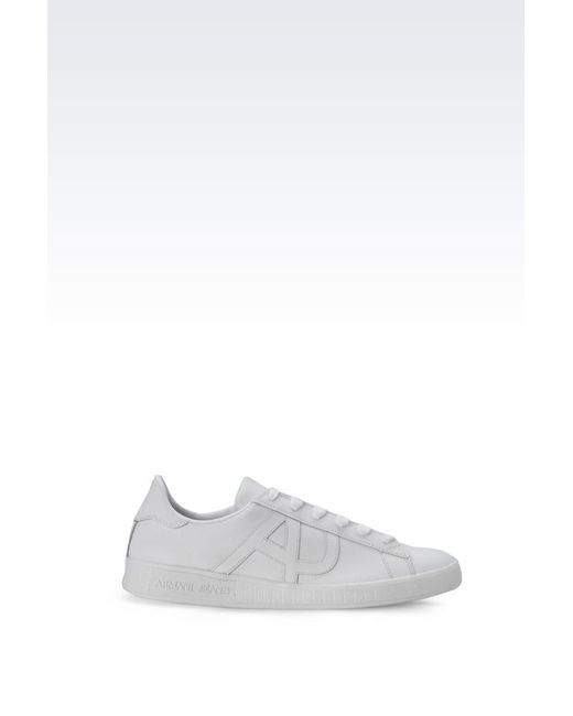 armani jeans sneaker in white for men lyst. Black Bedroom Furniture Sets. Home Design Ideas