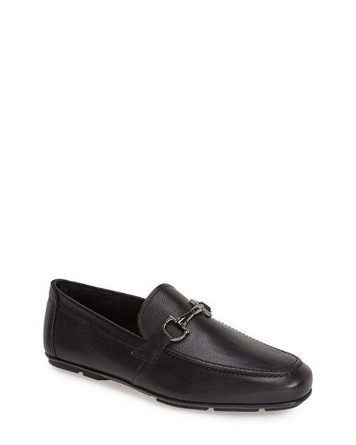 Ferragamo | Black 'nowell' Leather Driving Shoe for Men | Lyst