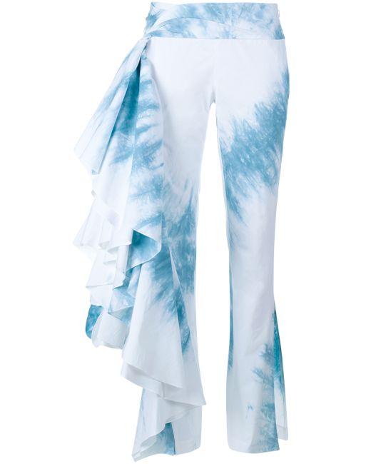 rosie assoulin tie dye trousers in blue blue white