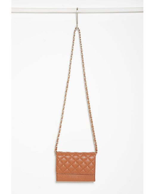 Forever 21 | Brown Quilted Faux Leather Crossbody You've Been Added To The Waitlist | Lyst