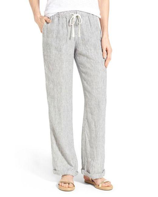 Caslon Drawstring Linen Pants In Blue Navy Ivory Mini