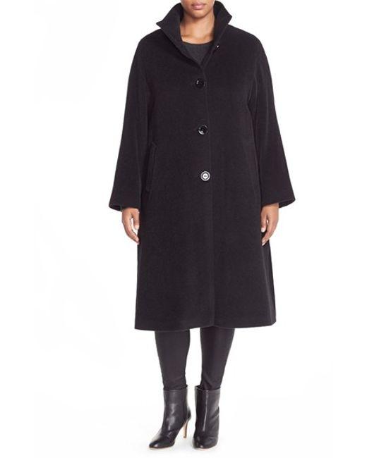 Cinzia Rocca | Black Stand Collar Alpaca & Wool Coat | Lyst