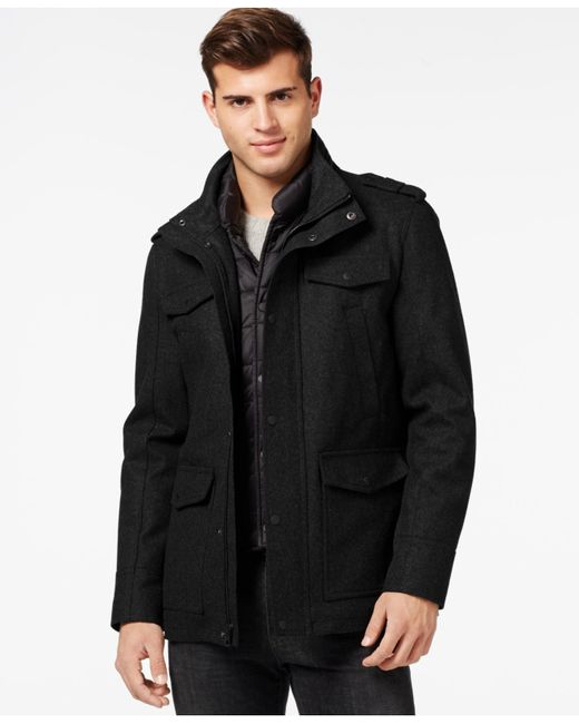 Guess | Black Laminated Jacket With Removable Bib for Men | Lyst