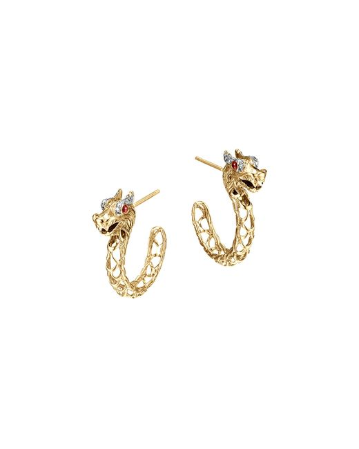 John Hardy | Metallic 18k Gold Naga Diamond Pave Medium Dragon Hoop Earrings With African Ruby Eyes | Lyst