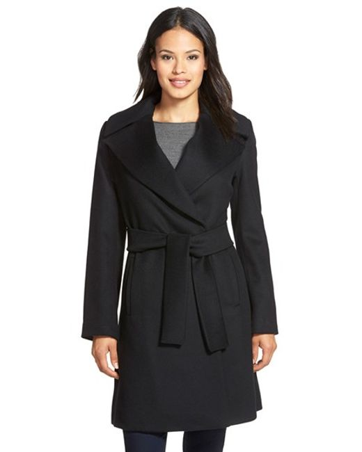 Trina Turk | Black 'violet' Wool Blend Wrap Coat | Lyst